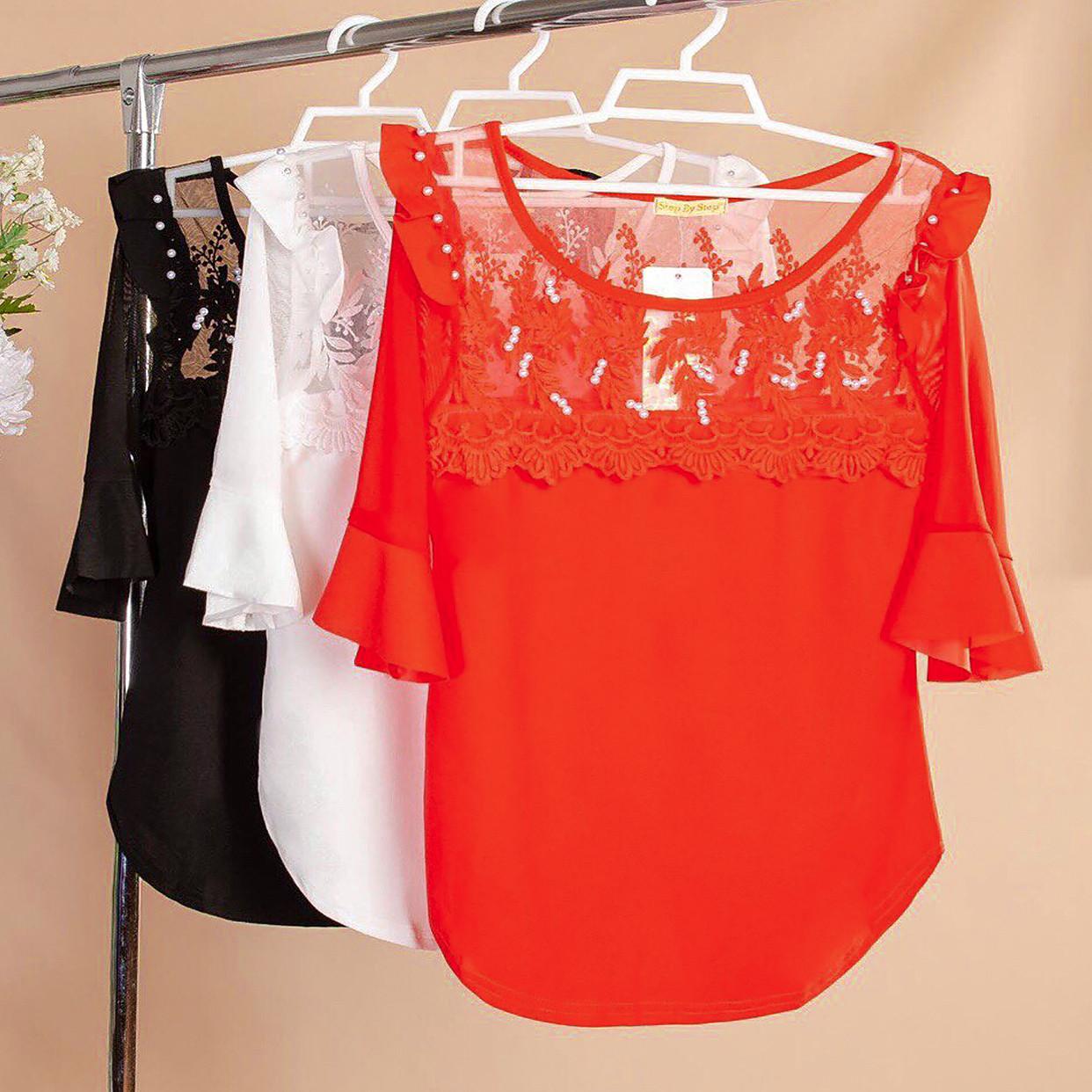 Элегантная блузка с укороченными рукавами 42-44 ( в расцветках)