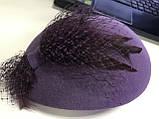 Женский маленький  фетровый берет украшен вуалью цвет под заказ, фото 5