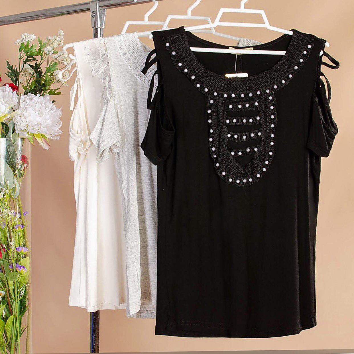 Оригинальная женская блузка с бусинками 42-44 ( в расцветках)