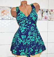 Большой 70 размер! Пляжное летнее платье танкини, для женщин, мягкая чашка, высокие плавки, c цветами.