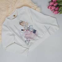 Белый свитшот для девочки с накаткой Девушка в Париже122-152 р