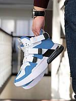 Кроссовки Мужские Хит Весна Белые с Голубым в стиле Nike Air Force