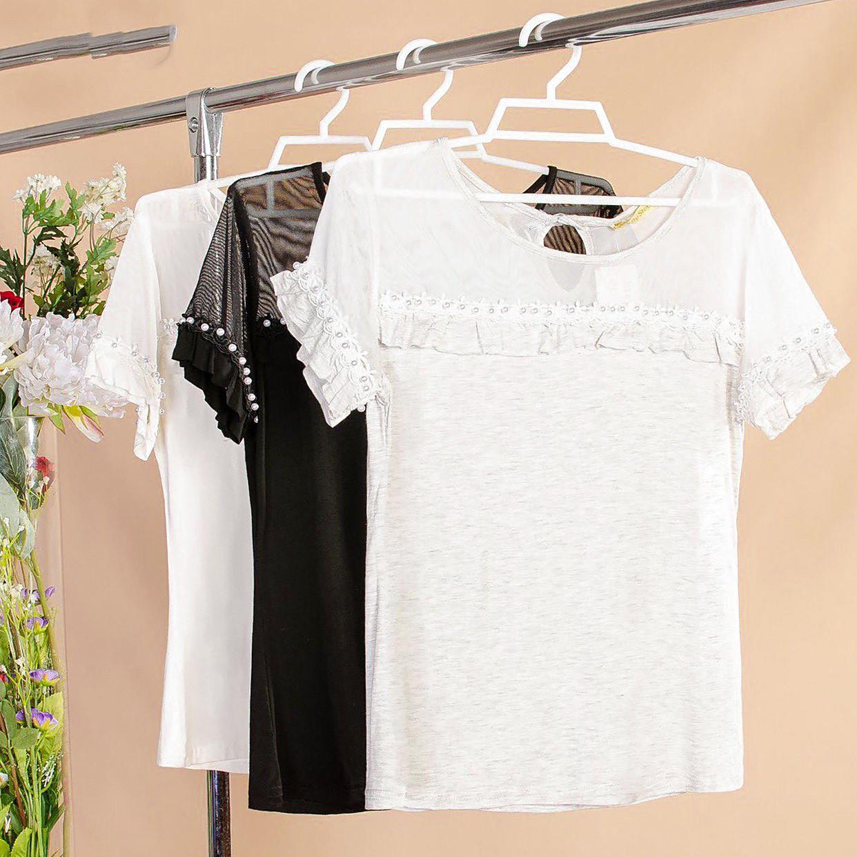 Женственная блузка с мелкими рюшами 42-44 ( в расцветках)
