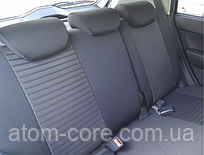 Чехлы на сиденья ДЭУ Матиз (Daewoo Matiz) (модельные, автоткань, отдельный подголовник) черно-бежевый