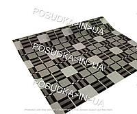 Мягкое стекло с рисунком серо-черные квадраты 0,8 мм ширина 0,6 м на МЕТРАЖ