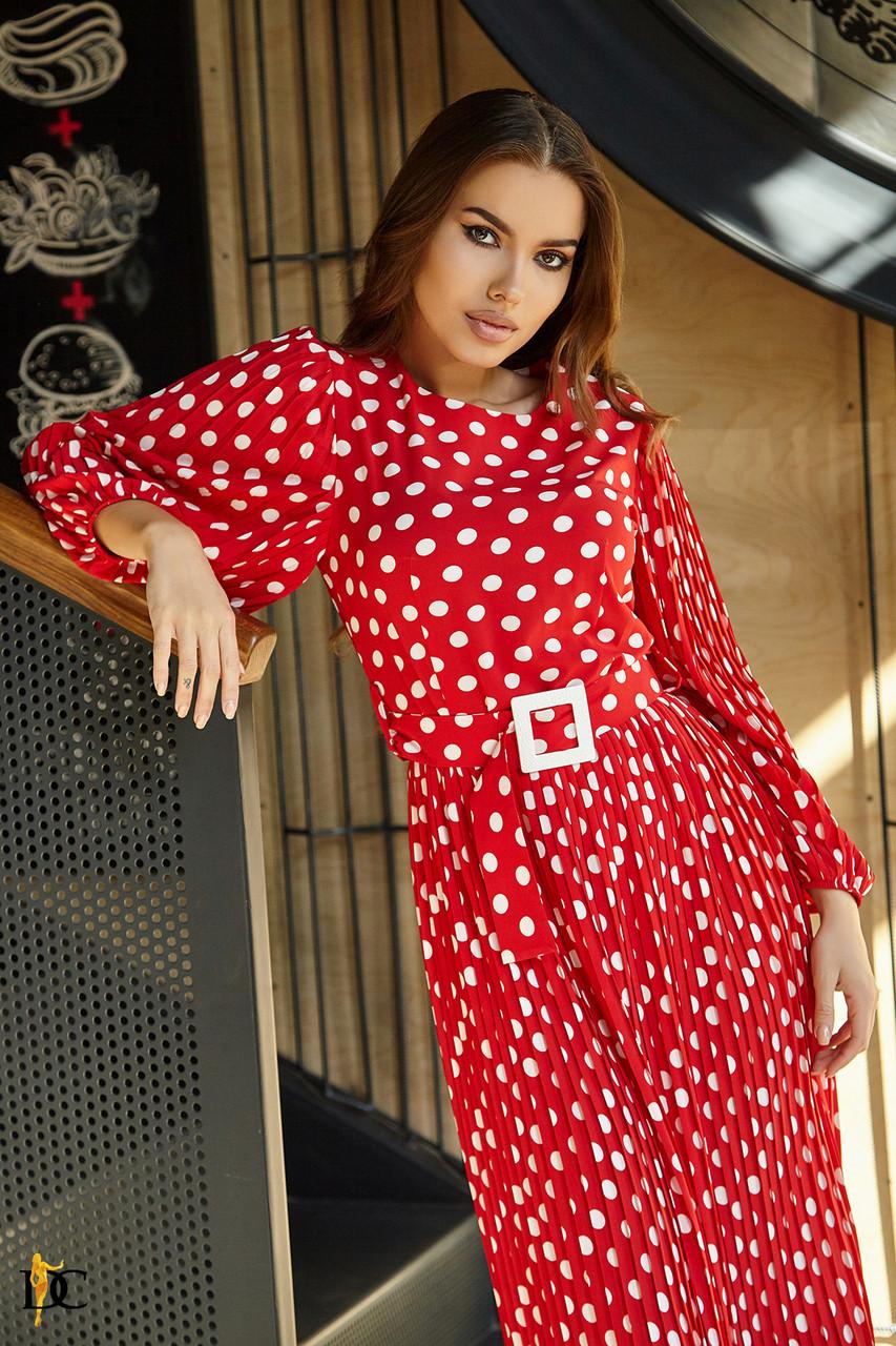 Платье с юбкой плиссе с 42 по 52 размер Весна 2020