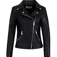 Женская черная куртка-косуха с карманами по бокам