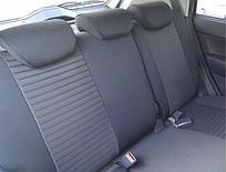 Чехлы на сиденья Форд Транзит (Ford Transit) 1+1  (модельные, автоткань, отдельный подголовник, логотип) черно-бежевый