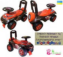 Каталка Машина музична Ралі червона-коричнева толокар Долоні машинка для катання