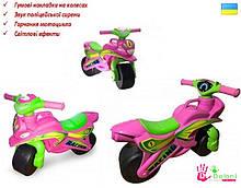 Мотоцикл музичний Doloni рожевий світло, толокар беговел каталка Долони