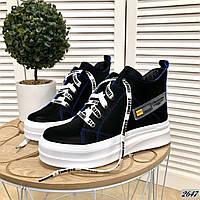 Высокие кожаные кеды на шнуровке 36-41 р чёрный, фото 1