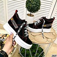 Высокие кожаные кеды на шнуровке 36 р чёрный, фото 1
