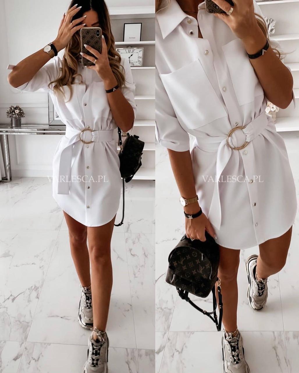 Женское однотонное стильное модное легкое мини платье с поясом в комплекте (креп-костюмка) 3 цвета