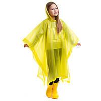 Дождевик детский Пончо многоразовый с капюшоном EVA рост 120 - 160 см Желтый (СПО C-1020)