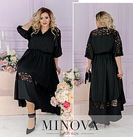 Черное вечернее платье батал Minova Фабрика моды Размеры: 48-50, 52-54, 56-58, 60-62