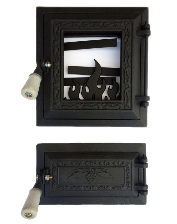 Печная дверца со стеклом 270х250, чугунные дверки для печи и барбекю 102003