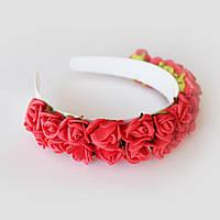 """Ободок с цветами """"Красные розы"""""""