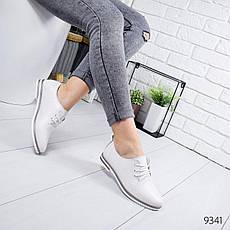 Туфли женские на ровном ходу, белого цвета из НАТУРАЛЬНОЙ КОЖИ с закрытым носком. Туфлі жіночі, фото 3