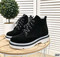 Ботинки из натурального замша 36-40 р чёрный