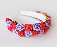 Ободок с цветами  Красноо сереневый букет роз