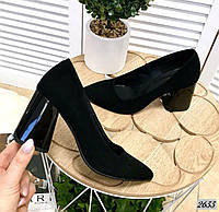 Замшевые туфли на устойчивом  каблуке 36-40 чёрный, фото 1