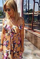 Шелковое нежное летнее платье с запахом, цветочный принт