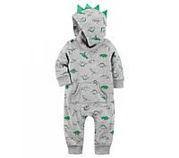"""Carters Хлопковый комбинезон """"Динозавр"""" с капюшоном для мальчика 12 мес (72-76 см)"""