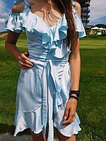 Летнее женское шелковое платье на запах, цвет малина, желтый, хаки, голубой, белый