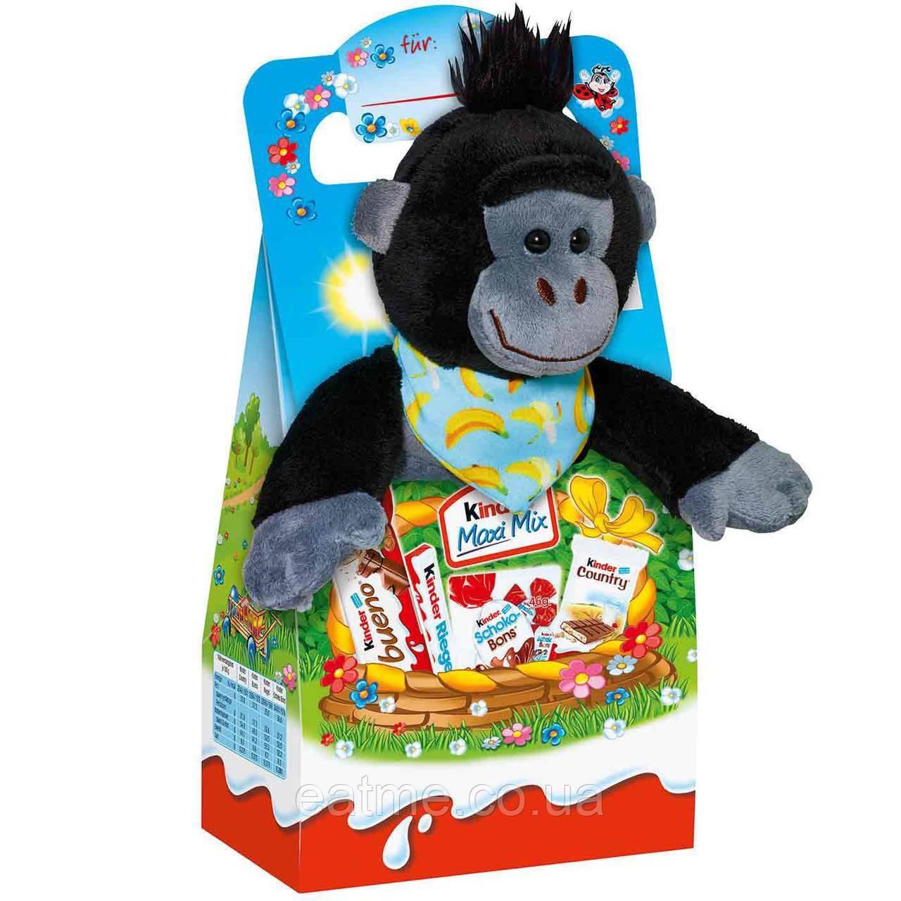 Kinder maxi mix Мягкая игрушка обезьяна со сладостями