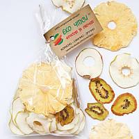 Фруктовые чипсы из яблок-20, киви-6 и ананаса-4, смесь 30 грамм