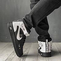Высокие белые мужские кроссовки Nike, КОЖА (ТОП-реплика)