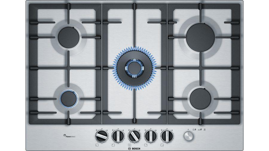 Вбудовувана газова поверхня Bosch PCQ7A5M90R - Ш-75см./5 конфорок/чавун/нерж. сталь