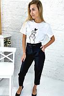 Трендовые брюки с высокой талией и поясом  PERRY - черный цвет, L (есть размеры), фото 1