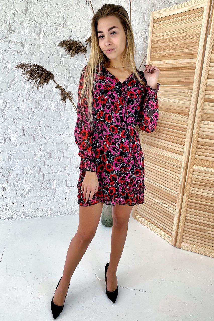Шифоновое платье с сочным цветочным рисунком  Clew - розовый цвет, S (есть размеры)