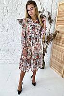 Нереально красивое платье длины миди с акварельным принтом  Sensation Life  - молочный цвет, 36р (есть размеры), фото 1