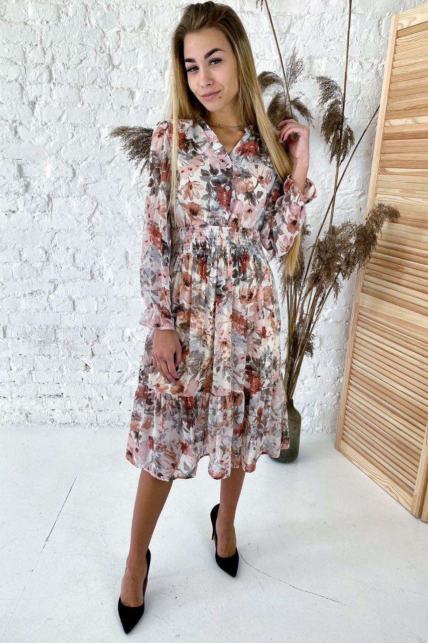 Нереально красивое платье длины миди с акварельным принтом  Sensation Life  - молочный цвет, 38р (есть размеры)