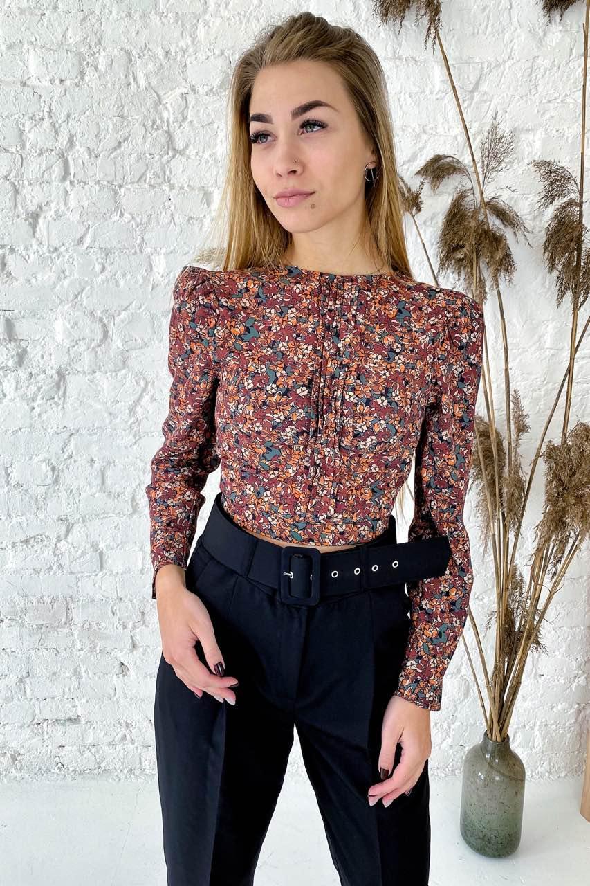 Укороченная блуза с цветочным рисунком на ткани  Clew - коричневый цвет, S (есть размеры)