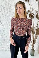 Укороченная блуза с цветочным рисунком на ткани  Clew - коричневый цвет, S (есть размеры), фото 1