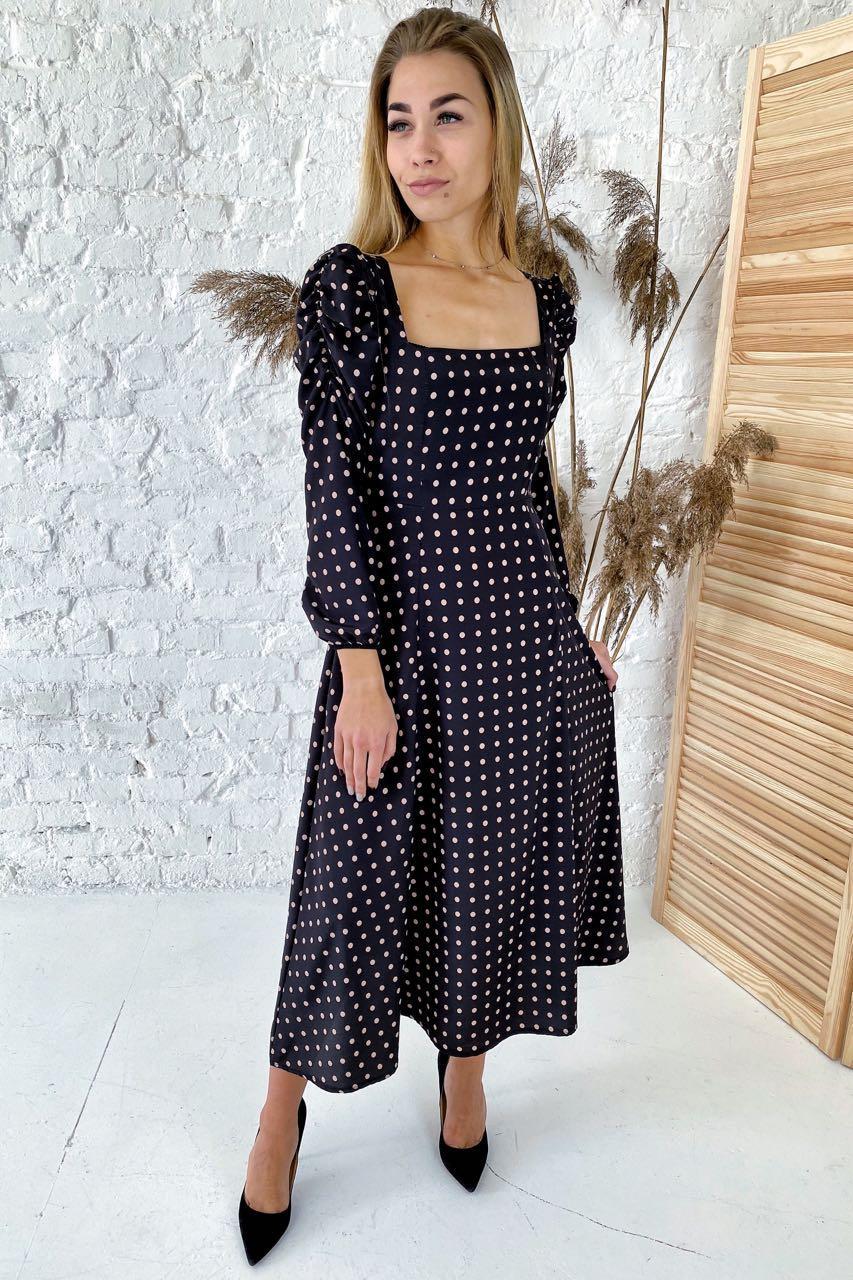 Шикарное длинное платье с необычными рукавами  Clew - черный цвет, L (есть размеры)