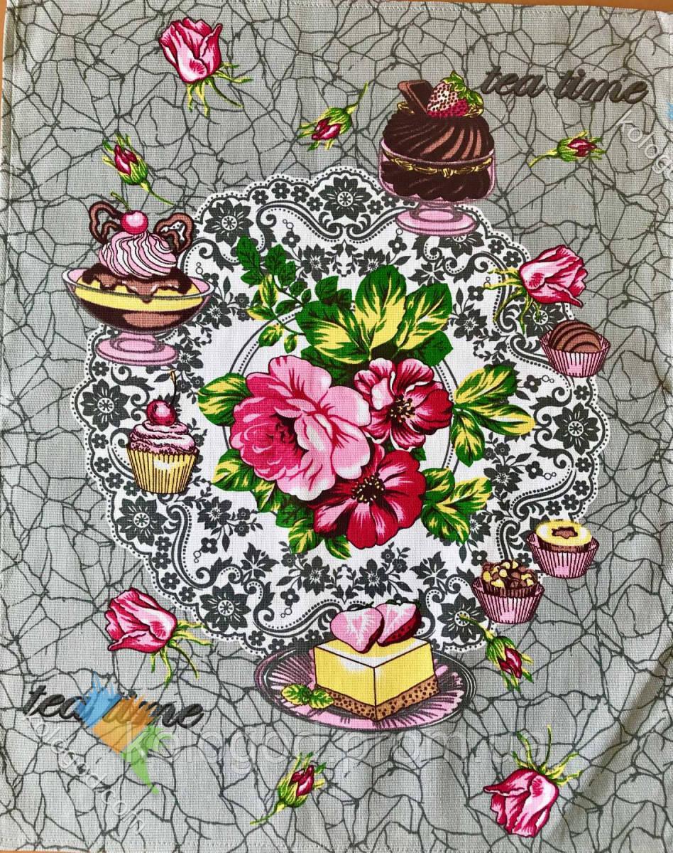 Рушник Кухонне Бавовняне Кухонне Рушник Tea Time З Малюнком 3 Види 3 Шт В Упаковці Розмір 57х45 см
