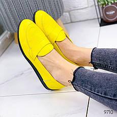 Туфли женские на ровном ходу, желтого цвета из НАТУРАЛЬНОЙ КОЖИ с закрытым носком. Туфлі жіночі, фото 3