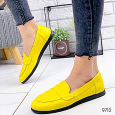Туфли женские на ровном ходу, желтого цвета из НАТУРАЛЬНОЙ КОЖИ с закрытым носком. Туфлі жіночі, фото 2