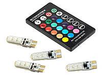 Светодиодная лампа в габариты T10 RGB 5050 SMD 1 пульт 4 лампочки