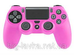 Силиконовый чехол для геймпада DualShock 4 (PS4) противоскользящий  Розовый