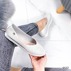 Балетки жіночі на плоскій підошві, сріблястого кольору з НАТУРАЛЬНОЇ ШКІРИ. Балетки жіночі. еспадрільі жіночі, фото 3