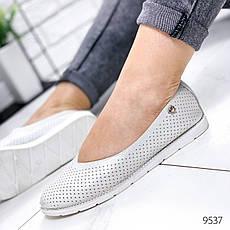 Балетки жіночі на плоскій підошві, сріблястого кольору з НАТУРАЛЬНОЇ ШКІРИ. Балетки жіночі. еспадрільі жіночі, фото 2