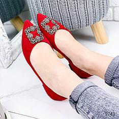 Балетки женские на плоской подошве, красные из эко замши с острым носком. Балетки жіночі. еспадрільі жіночі