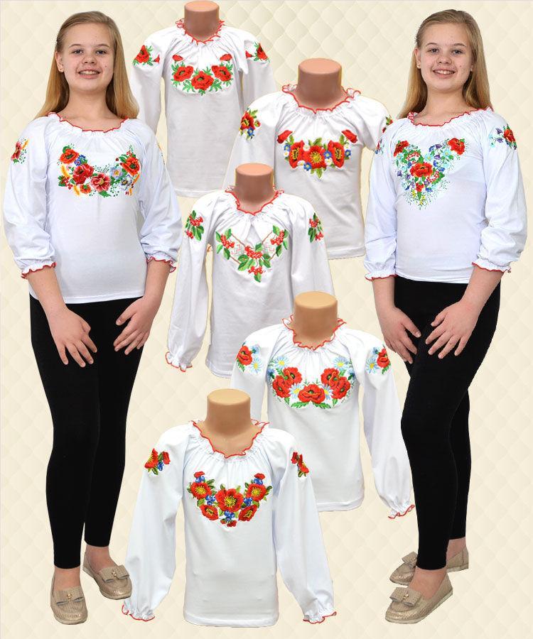 Вышиванка для девочек длинный рукав фуликра