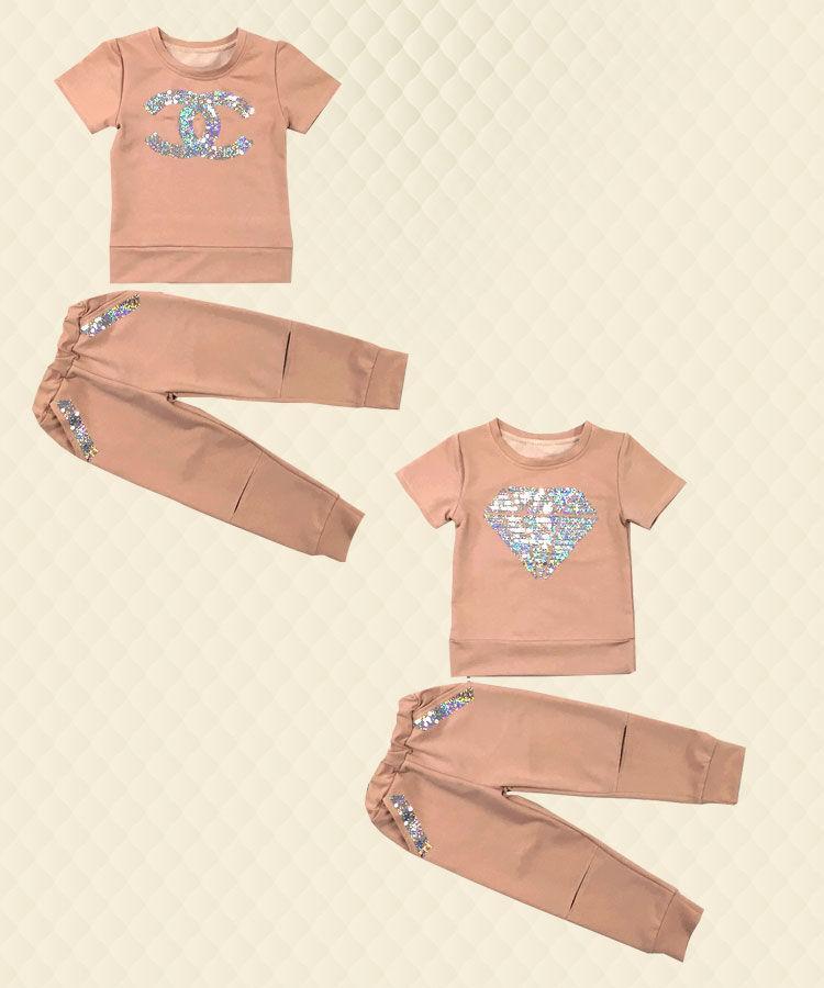 Костюм для девочки с паетками двухнитка