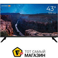 Черный LED телевизор для гостиной 43 Smart TV — Mystery MTV-4350UST2 — c 2 x USB, 3 x HDMI, cлот PCMCIA, Ethernet, VGA, Wi-Fi, доступ к сети интернет,